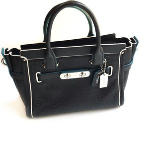 Coach Swagger Black Blue Pebbled Leather Satchel